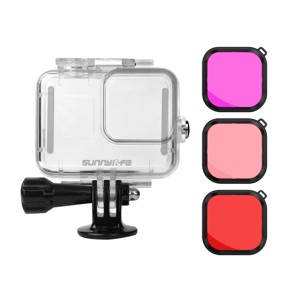 Sports Camera Waterproof Shell Protective Cover Underwater Photography Diving Stick Buoyancy Stick for GoPro Hero 8 Camera Accessories 1*case+3*filters