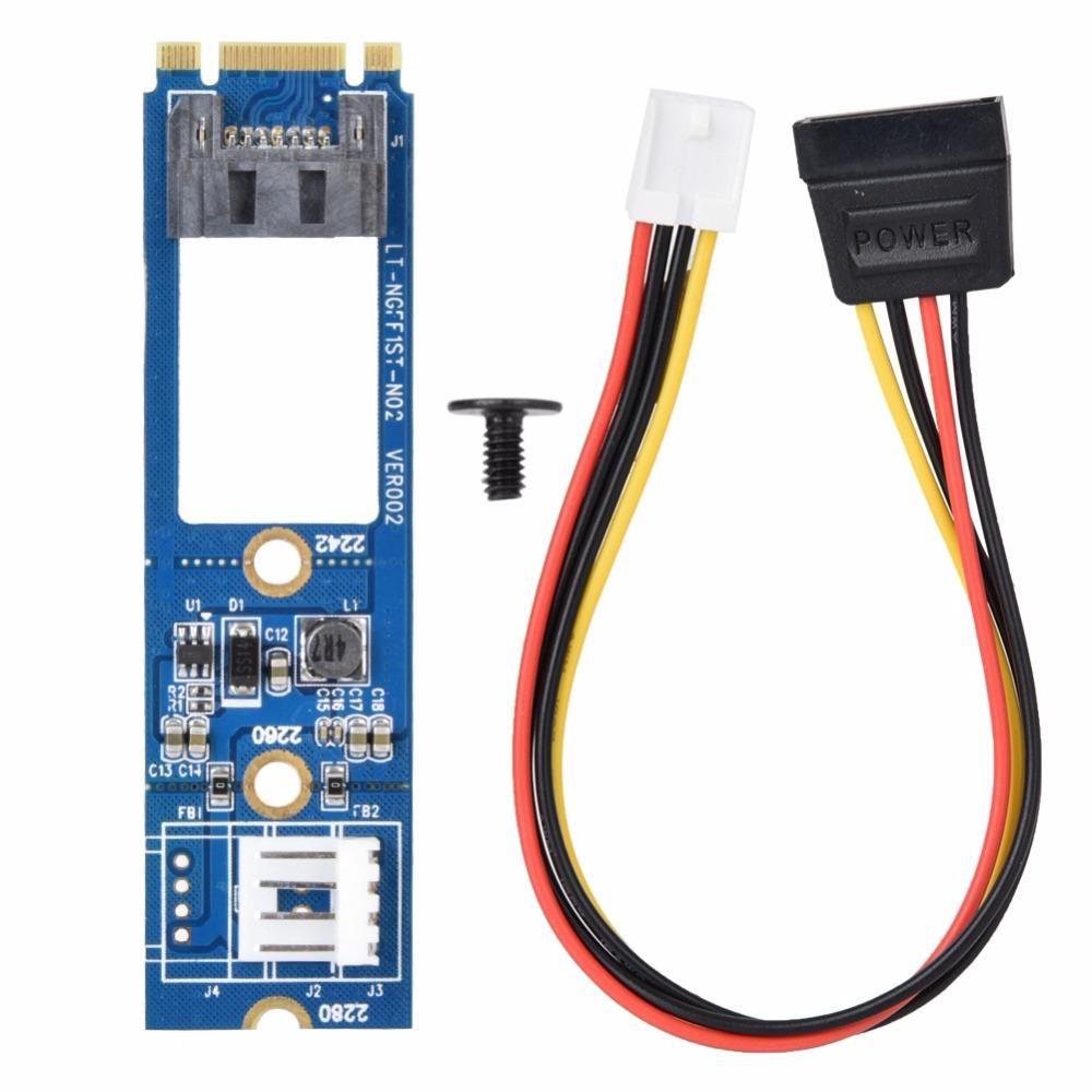 M2 to SATA M.2 NGFF SATA to 7Pin SATA Horizontal Adapter Card Expansion Card + 4Pin WinXP Win7 Win8 Power Cable blue