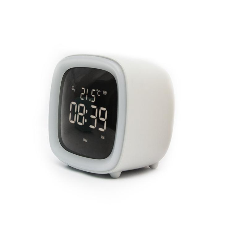 Kids Alarm Clock Cute Tv Night Light Alarm Clock For Children Desk Clock Rechargeable Battery Operated gray
