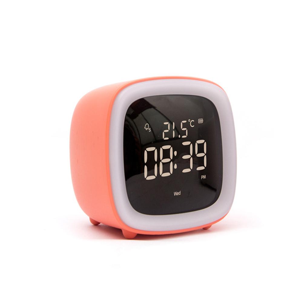 Kids Alarm Clock Cute Tv Night Light Alarm Clock For Children Desk Clock Rechargeable Battery Operated Orange