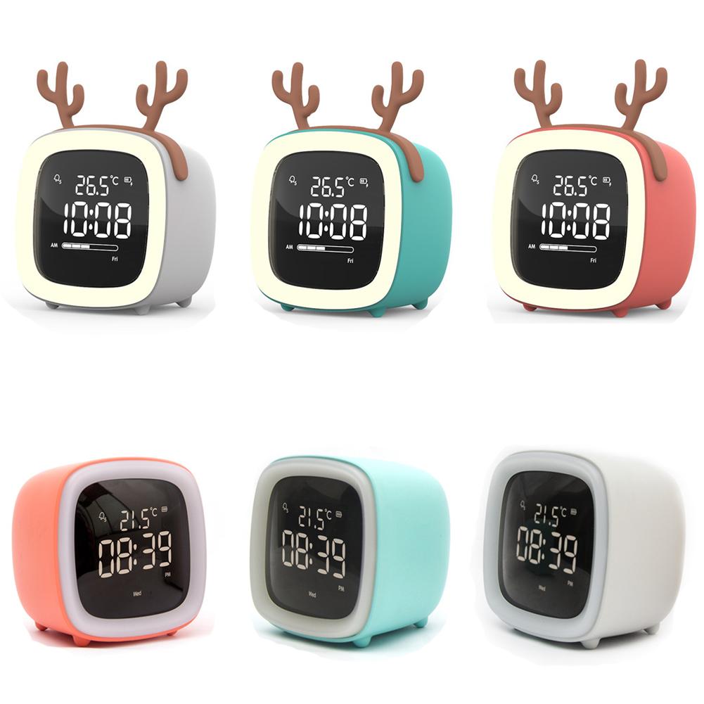 Kids Alarm Clock Cute Tv Night Light Alarm Clock For Children Desk Clock Rechargeable Battery Operated blue