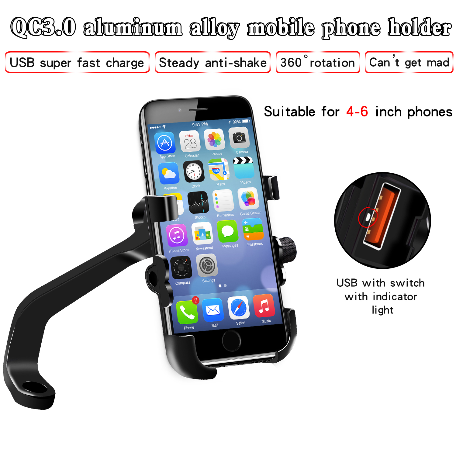 Motorcycle Mobile Phone Holder Aluminum Alloy Waterproof QC3.0 Quick Charge Multifunctional Rearview Mirror Holder