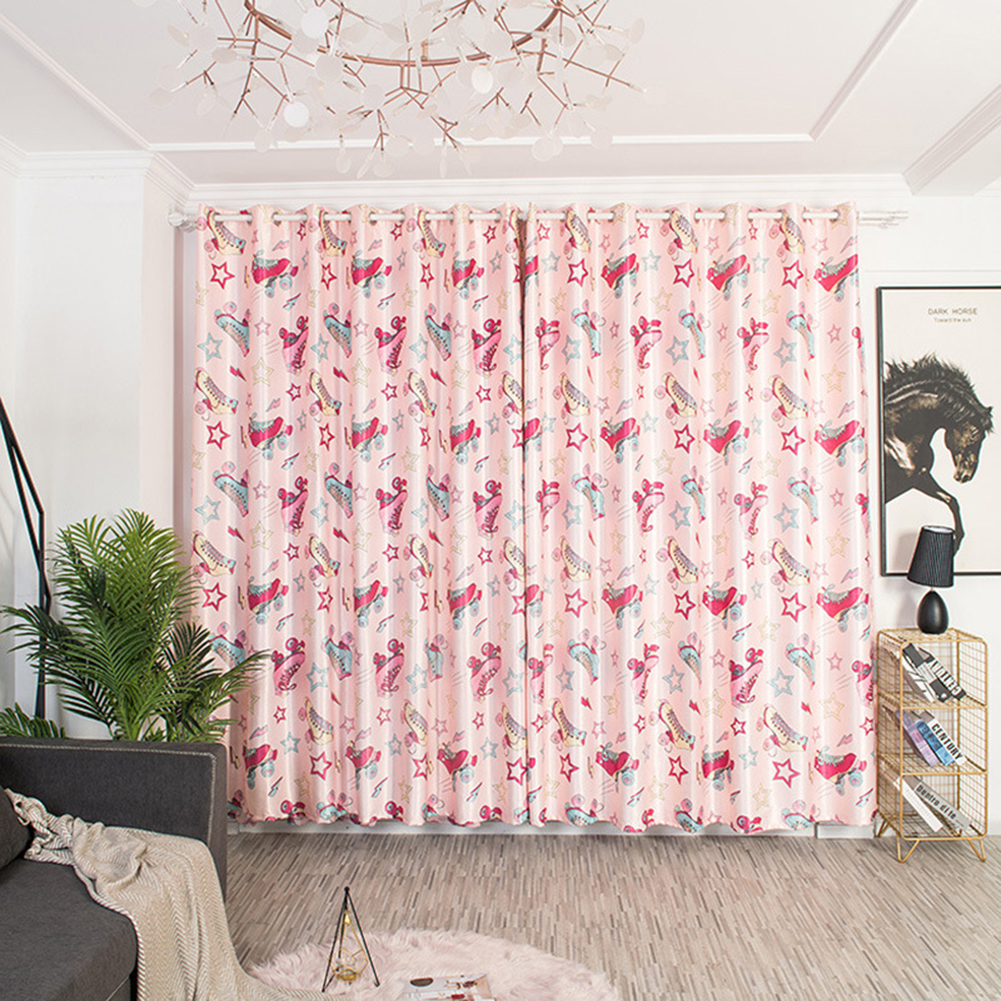 Cartoon Printed Window Curtains Hollow Out Drape for Home Kids Room Shade Pink_1 * 2.5m high punch