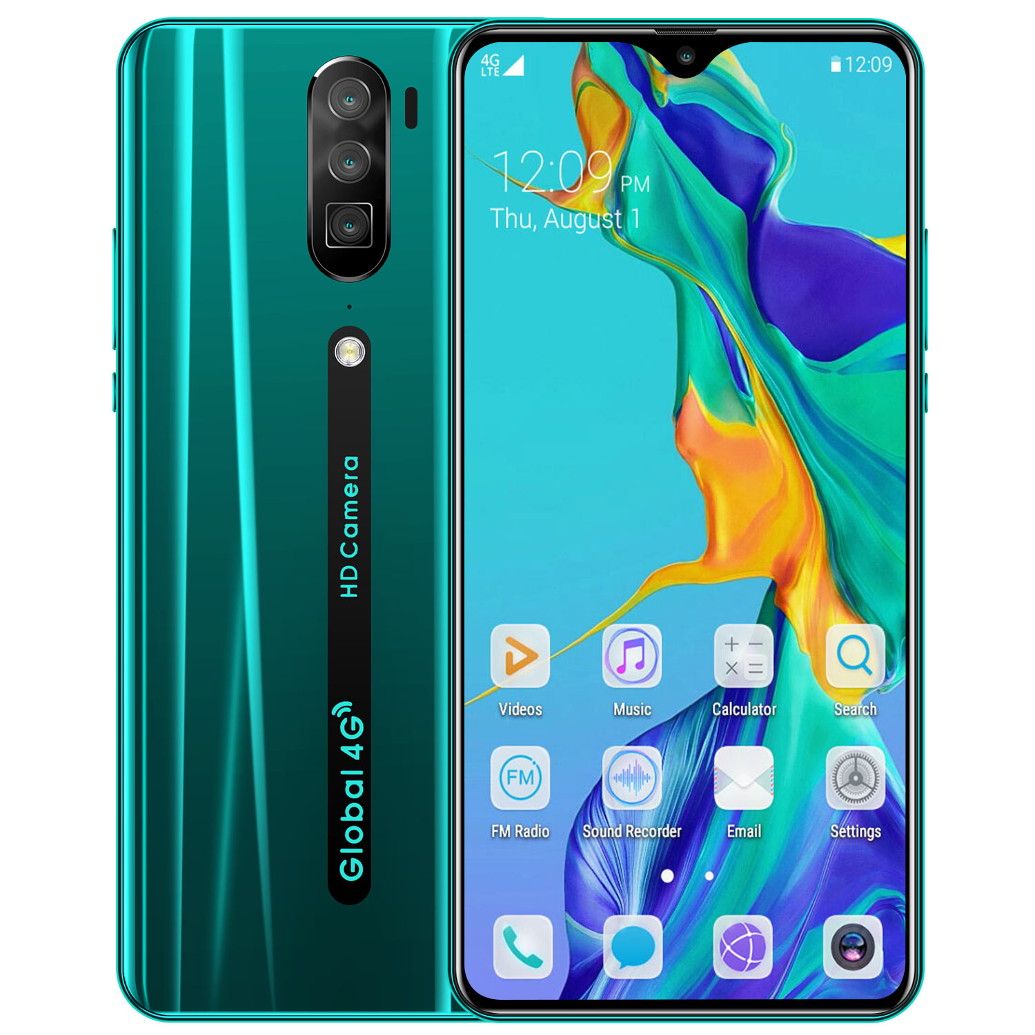 6.3inch RINO Smartphone HD Screen 8G RAM+128GB ROM Memory 8MP+16MP Camero 4800mAh Battery Support Face Recognition Fingerprint Unlock green_U.S. regulations