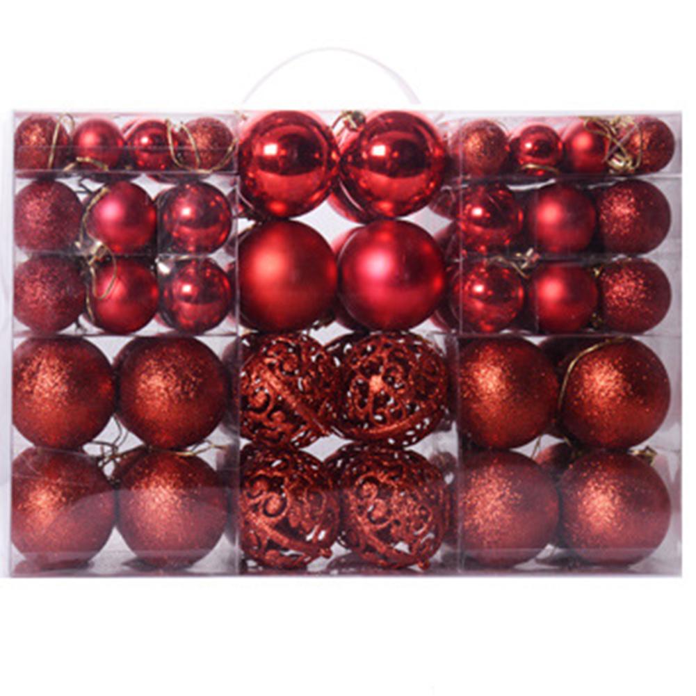 100Pcs 3-6CM Christmas Balls Hanging Pendants for Xmas Tree Decoration red