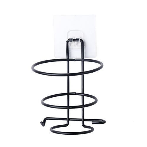 Simple Wall Hanging Hair Dryer Rack for Storage Bathroom  black