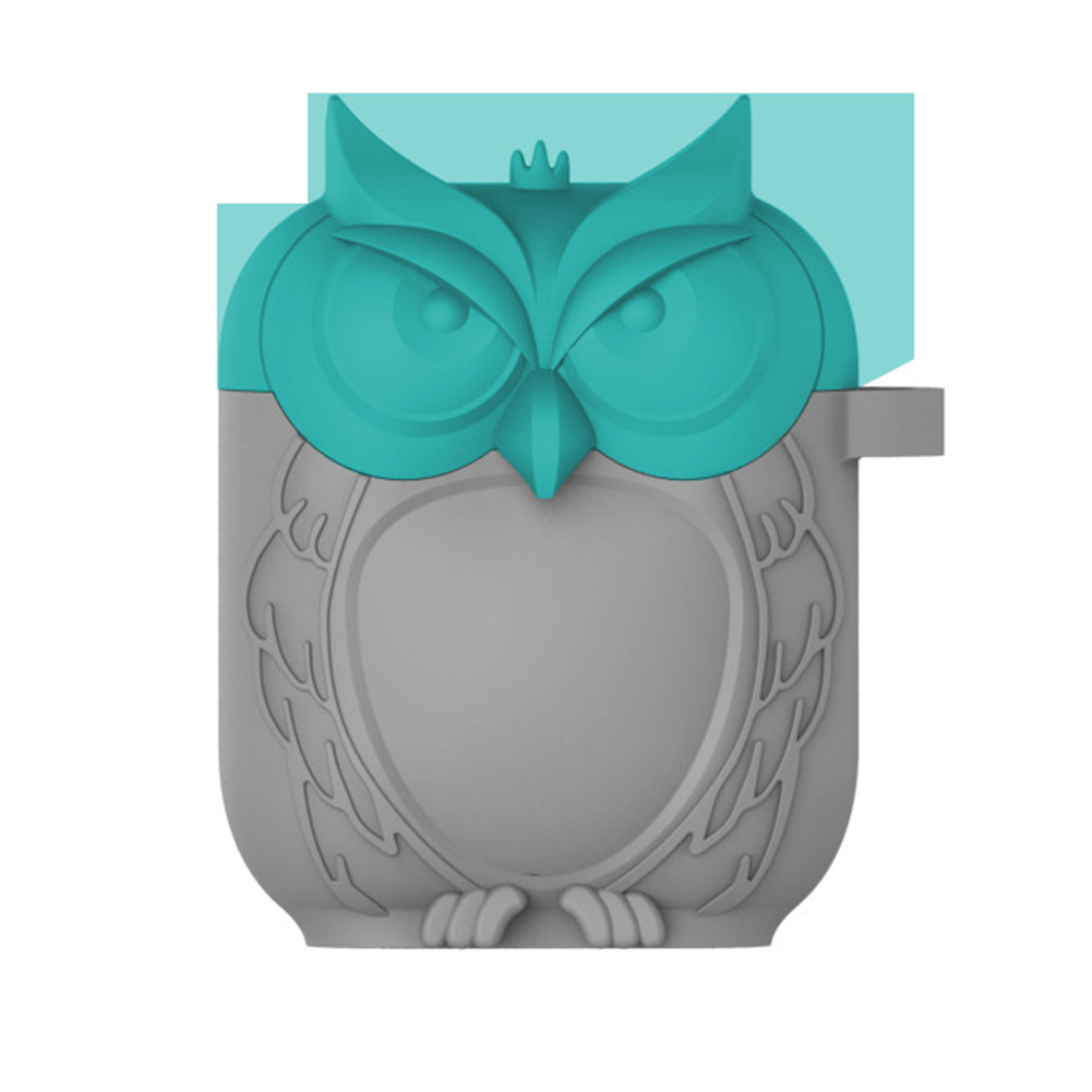 Owl Shape Airpods Case Cover - Blue and Gray