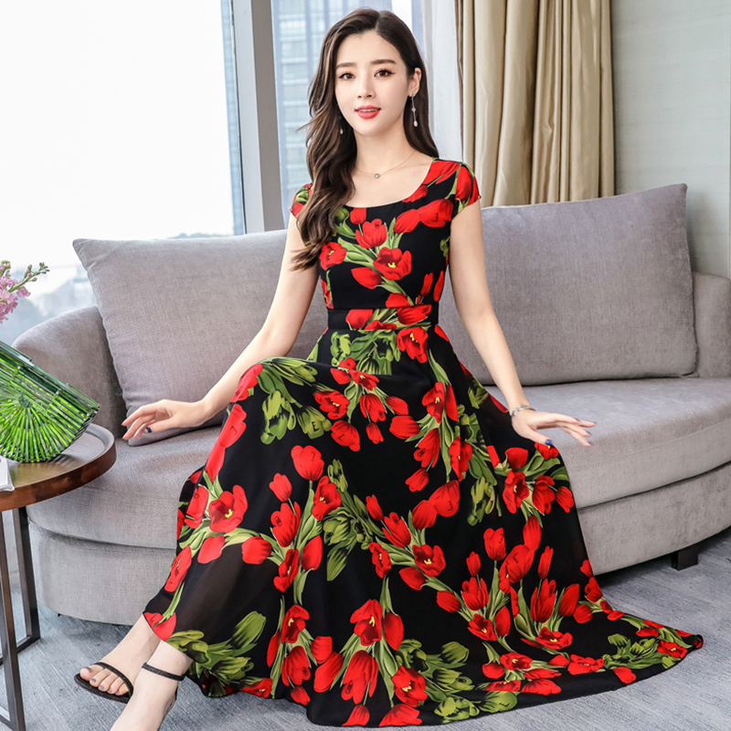 Women Summer Casual Short Sleeve Floral Printing Long Dress red_XL
