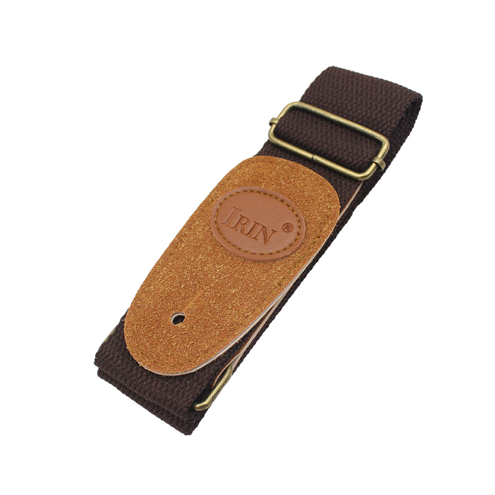 Adjustable Guitar Belt Woven Cotton Guitar Strap with Leather Ends for Electric Acoustic Folk Guitar  dark coffee