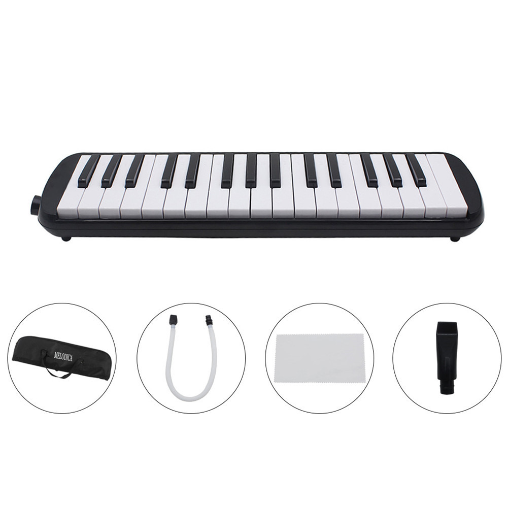 1 set 32 Key Piano Style Melodica With Box Organ Accordion Mouth Piece Blow Key Board black