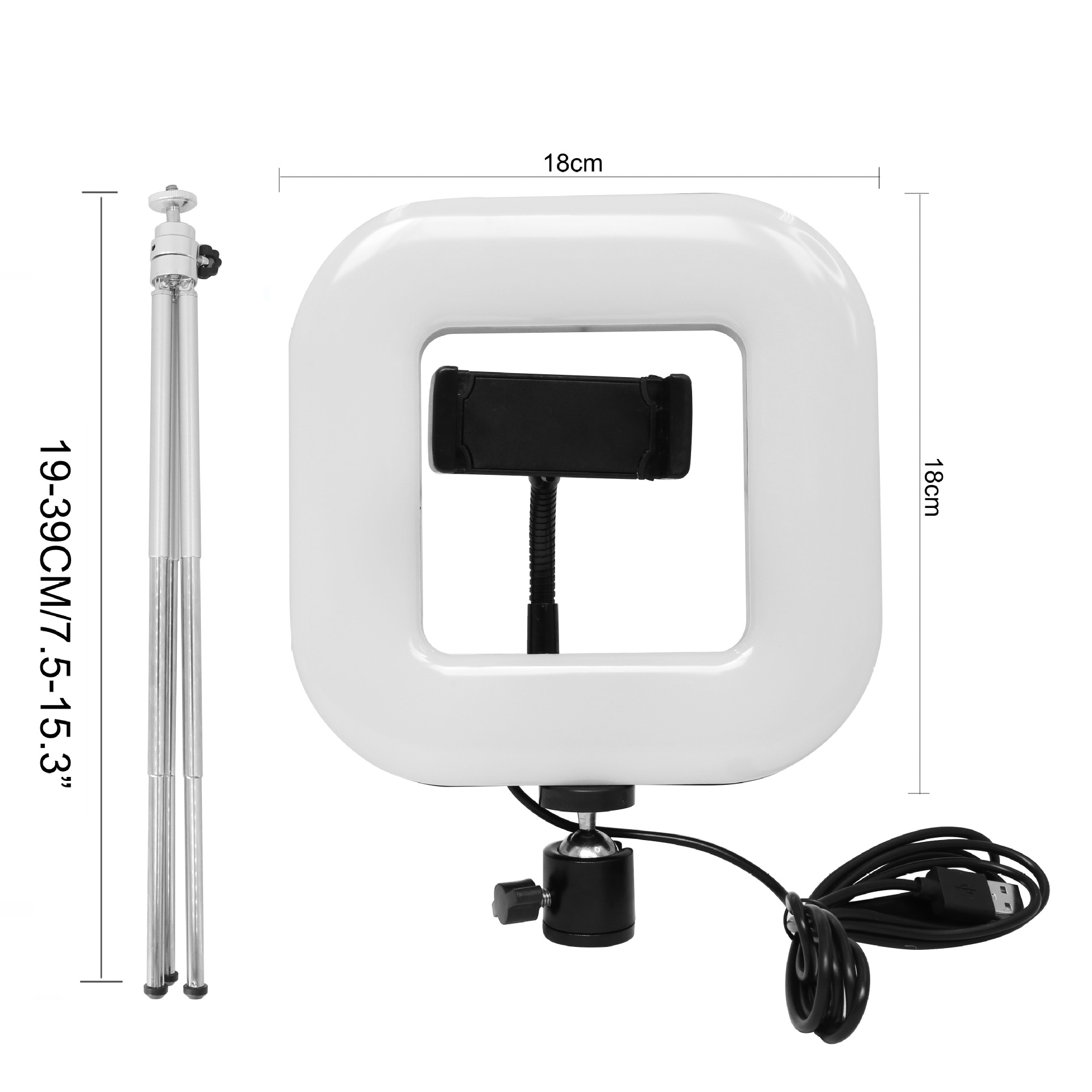 18cm Dimmable LED Square Light with Tripod Phone Fill Light Portable Clip-on for Selfie Live Broadcast Girl Makes up black
