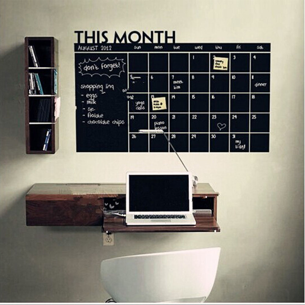 Blackboard Wall Sticker Month Calendar Chalkboard Memo Sticker Office Home Decoration  Medium 60x92cm
