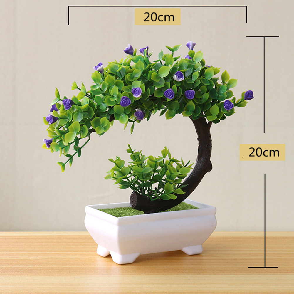 Artificial Plant Bonsai for Home Dining-table Office Decoration purple flower