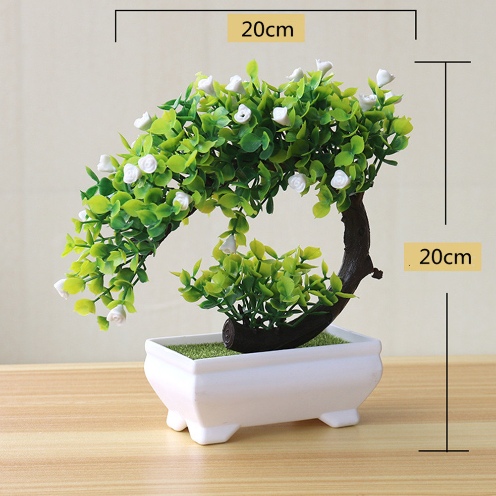 Artificial Plant Bonsai for Home Dining-table Office Decoration White flower