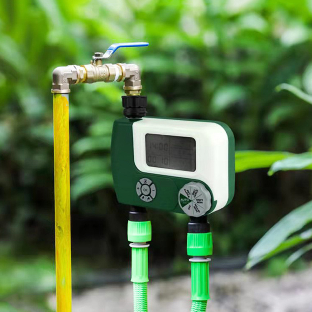 Irrigation Controller Electronic Large Screen Digital Garden Watering Timer  green