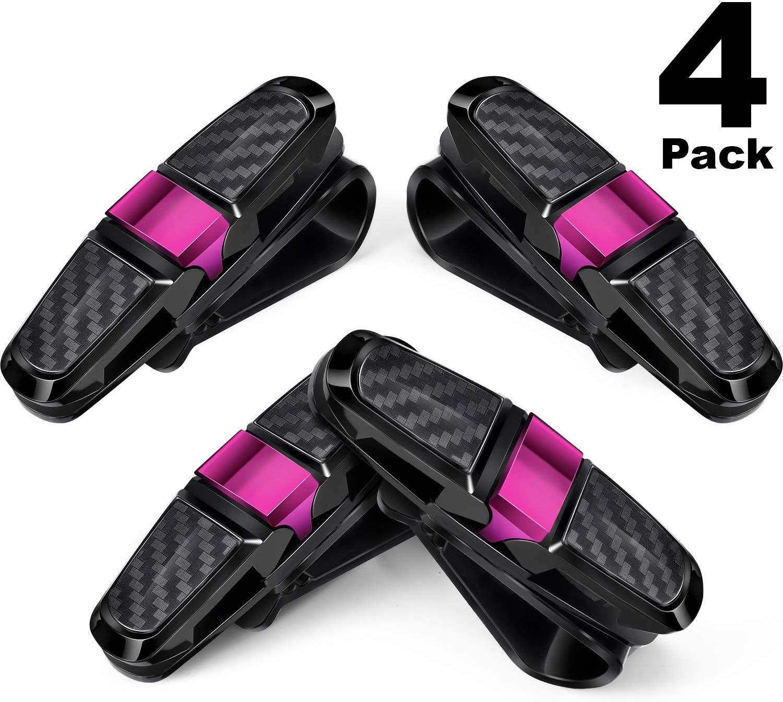 4 Packs Glasses Holders for Car Sun Visor Sunglasses Holder Clip Hanger Eyeglasses Mount rose Red