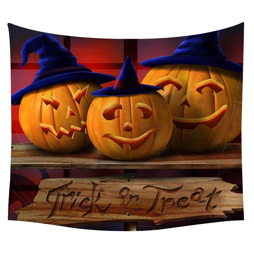 Halloween Series Printing Trick Treat Wall Hanging Tapestry Home Decor Party Decoration 21#_150*130cm