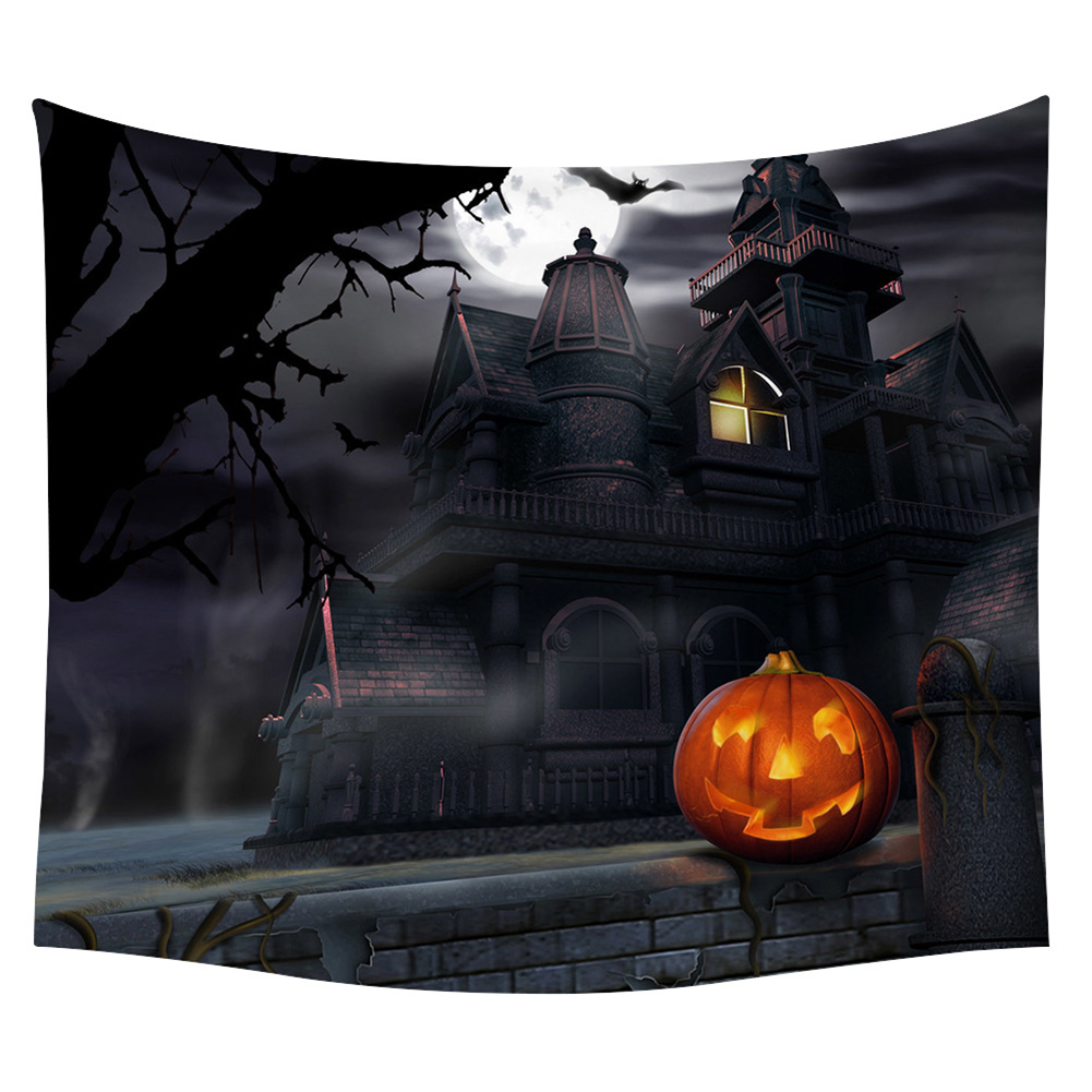 Halloween Series Printing Trick Treat Wall Hanging Tapestry Home Decor Party Decoration 19#_150*130cm