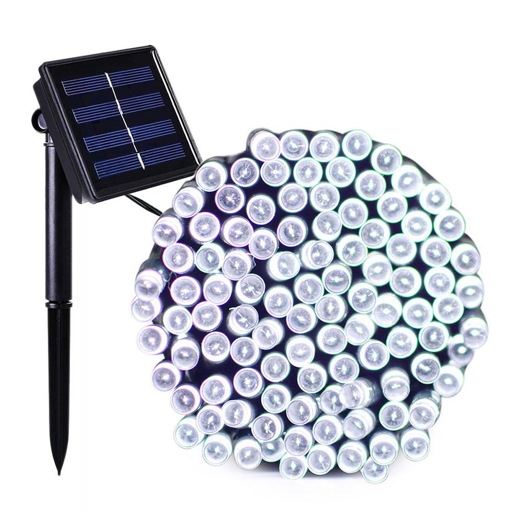 LED Waterproof 8 Functions Solar Powered String Light for Christmas Garden Landscape Decor 100 lights - white