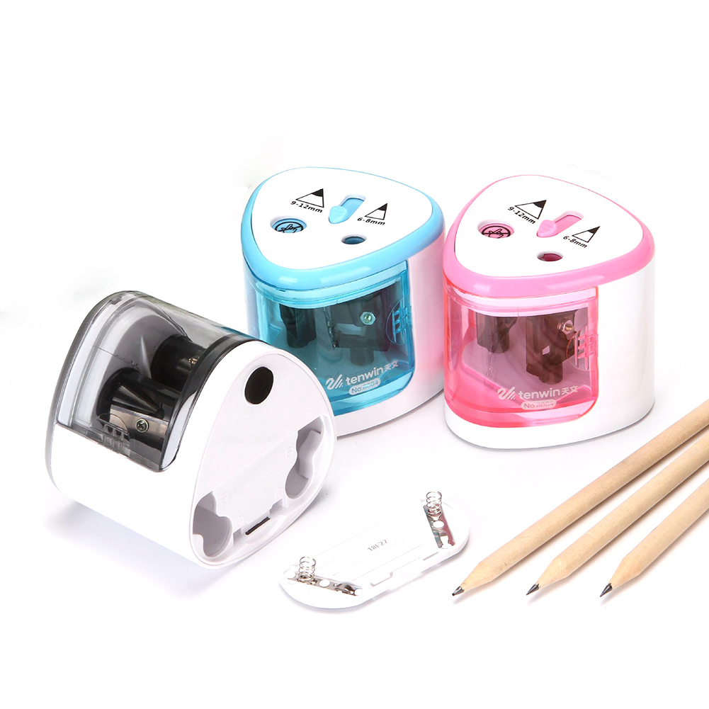 Automatic Pencil Sharpener Electric Switch Pencil Sharpener Stationery for Home Office School English version-silver