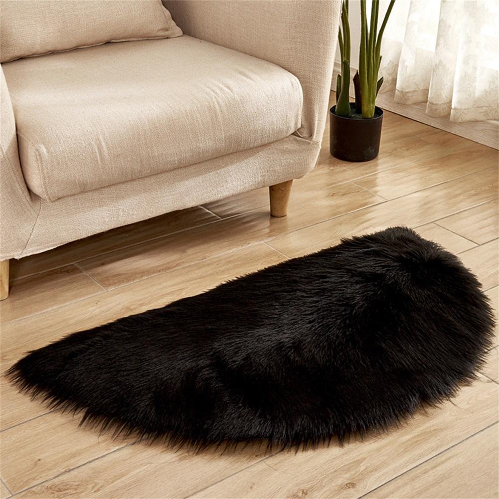 Semi-circle Plush Round Area Rugs for Kids Girls Room Carpet Nursery Rug Bedroom Living Room Floor Carpet  black_30*60cm