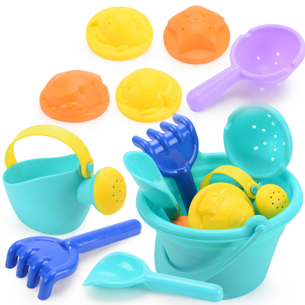 Soft Silicone Beach Toys for Children SandBox Set Kit Bucket Shovel 9 pcs of beach toys