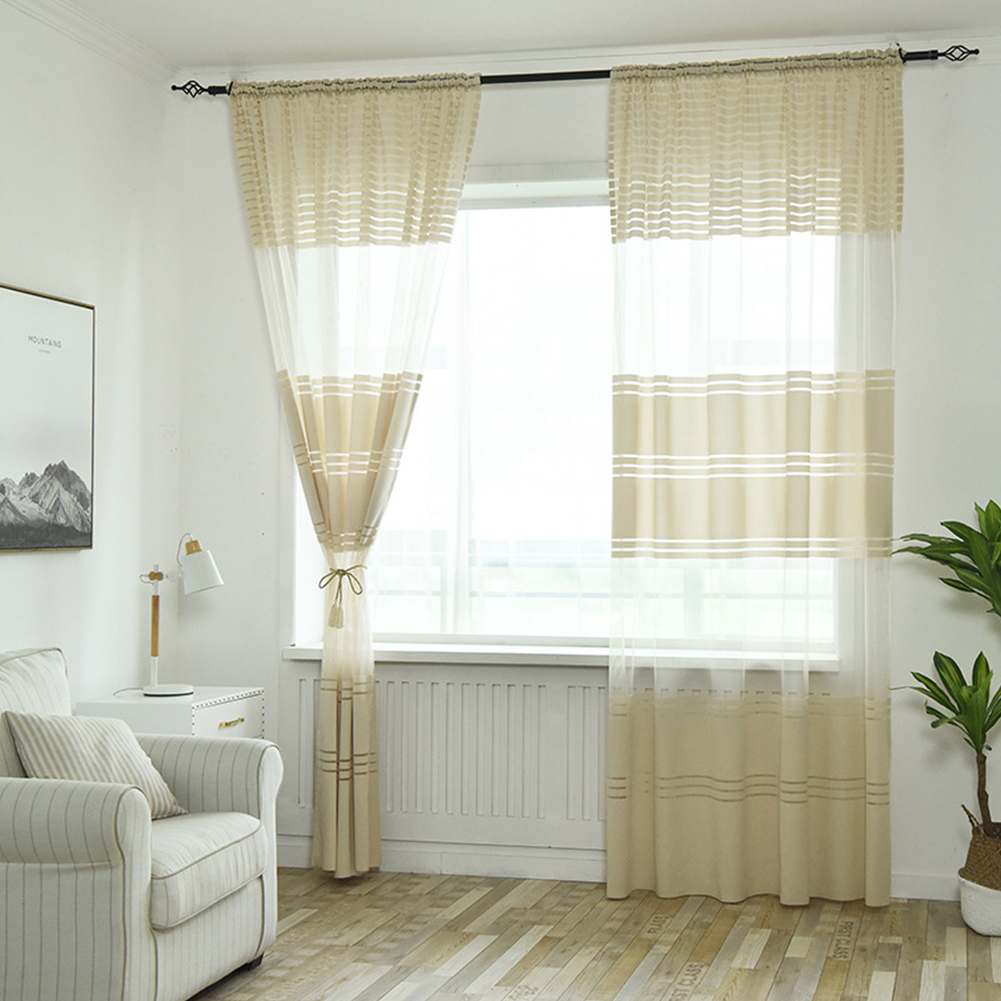 Modern Striped Tulle Curtains for Living Room Bedroom Window Shading beige_1*2.7 meters high