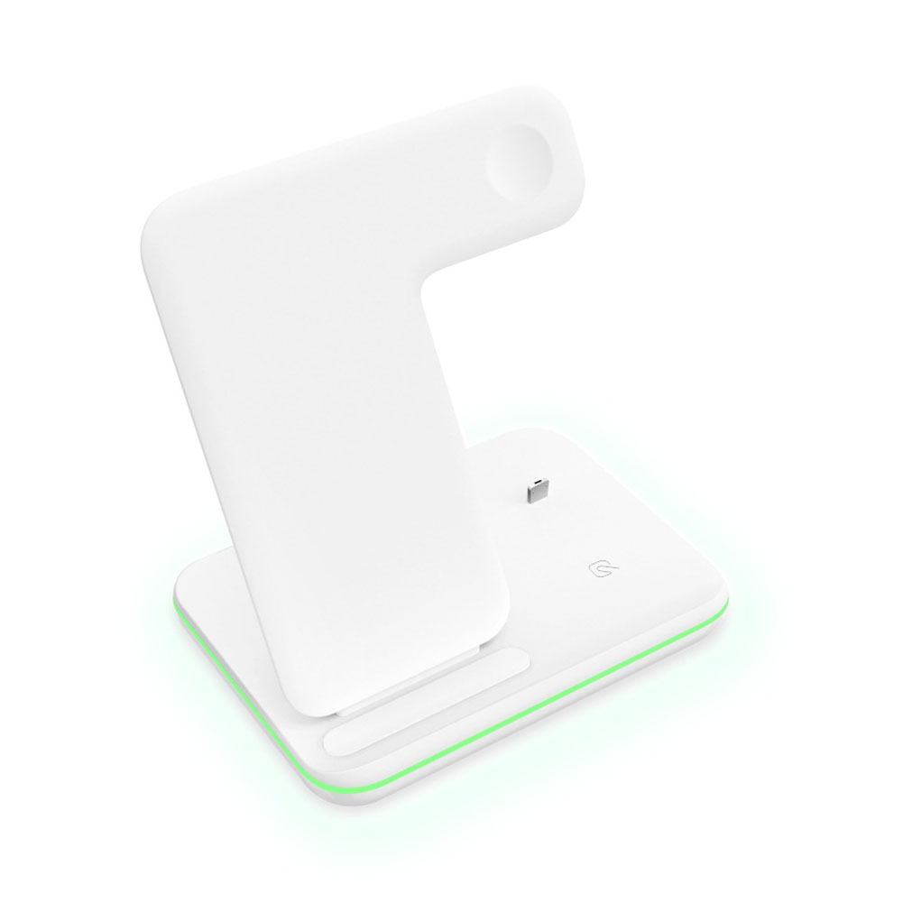 3 in 1 Wireless Charger 15W Desktop Charging Stock for iPhone 8/X iWatch iPods white