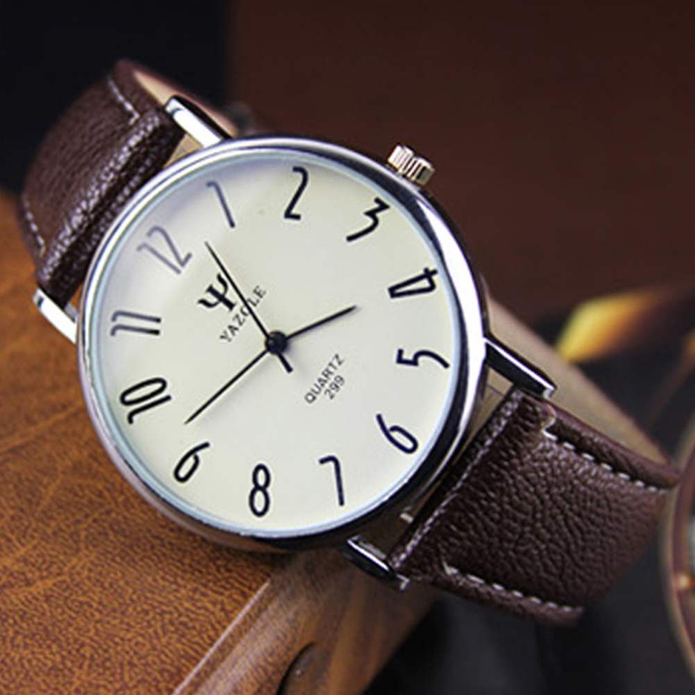 Unisex Casual Business Style Leather Strap Waterproof Classic Watch Small white dial brown belt