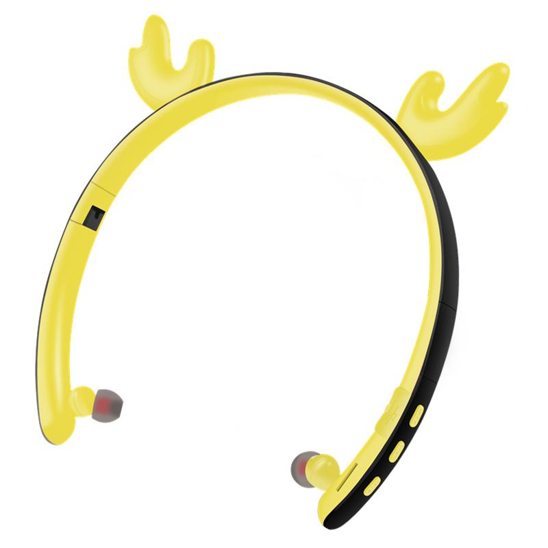 Creative LED Cartoon Luminous Elk Ear 5.0 Foldable In-ear Wireless Bluetooth Headset yellow