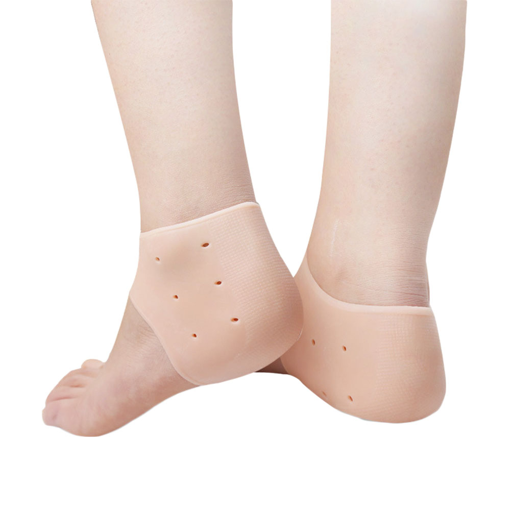 Moisturizing Silicone Heel Protective Socks with Breathable Holes Anti-shock Foot Protectors Cracked Foot Skin Care Soft  skin color_Free size