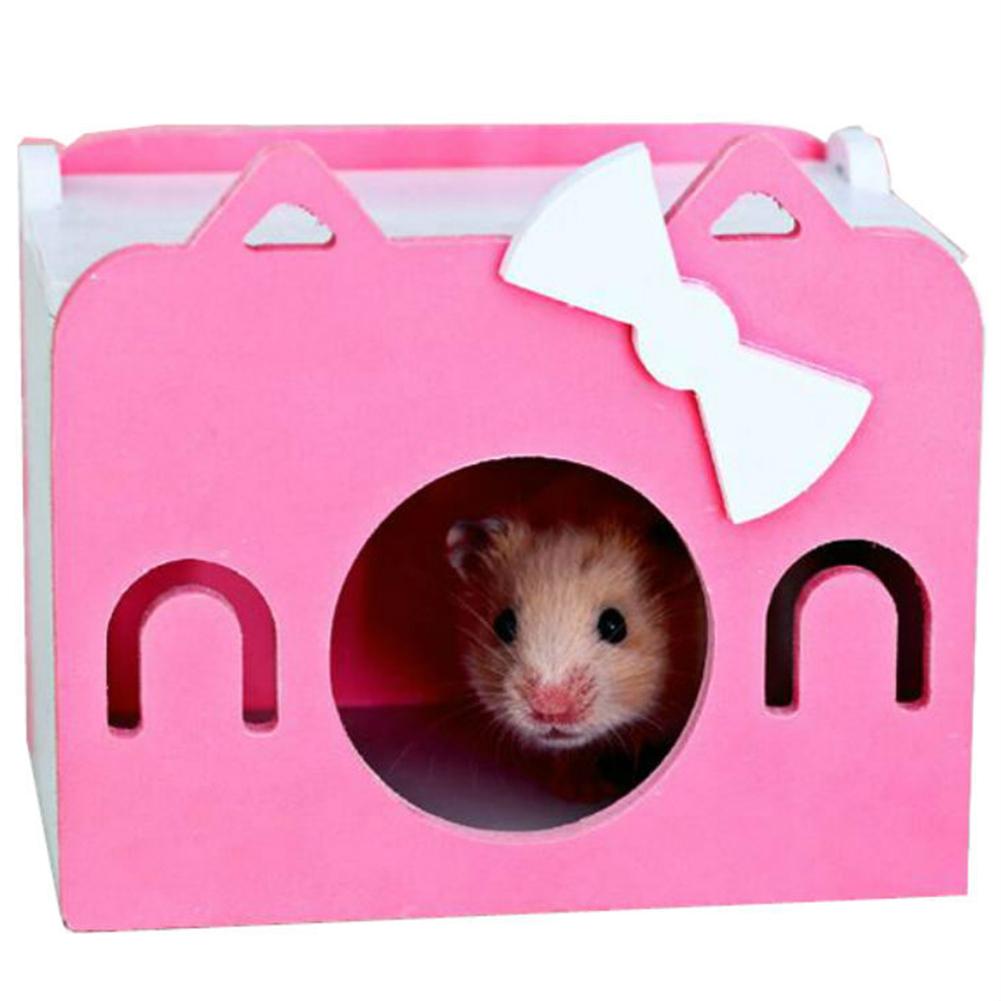 Mini Wooden House Shape Sleeping Nest Toy for Hedgehog Guinea Pig Hamster Pet Pink_S