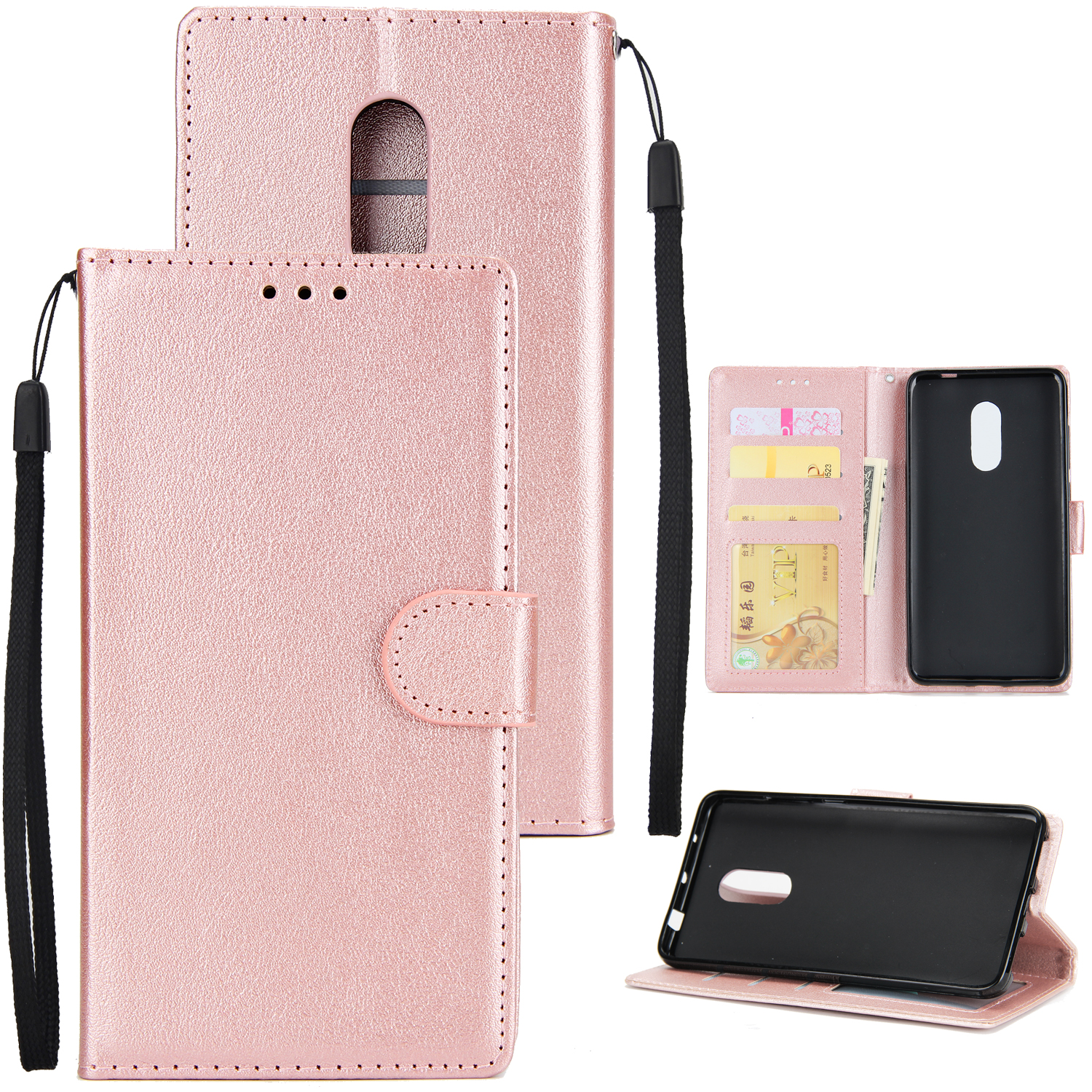 Ultra Slim PU Full Protective Cover Non-slip Shockproof Cell Phone Case with Card Slot for Xiaomi Redmi note 4 Rose gold