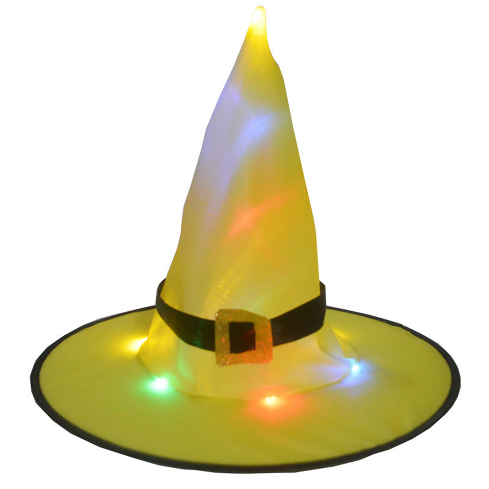 Halloween Glowing Witch Hat Lighting Head-wear for Outdoor Cosplay Props Yellow