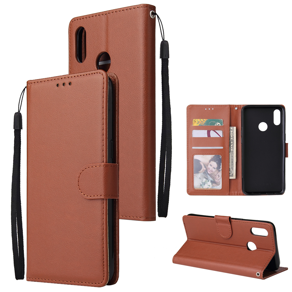 For OPPO Realme 3 Wallet-type PU Leather Protective Phone Case with Buckle & 3 Card Position brown