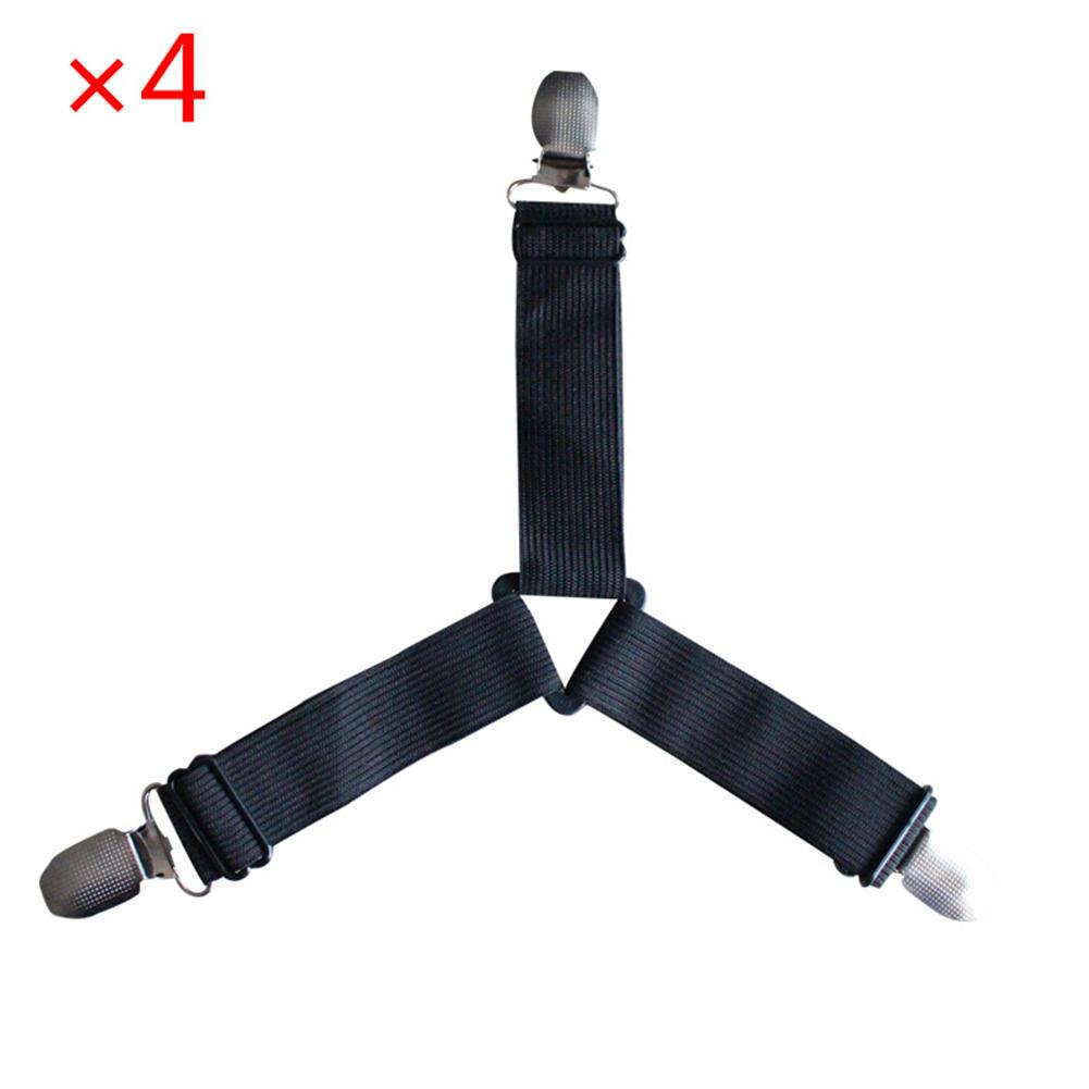 4pcs Bed Suspender Straps Mattress Fastener Holder Triangle Grippers Sheet Clips Black