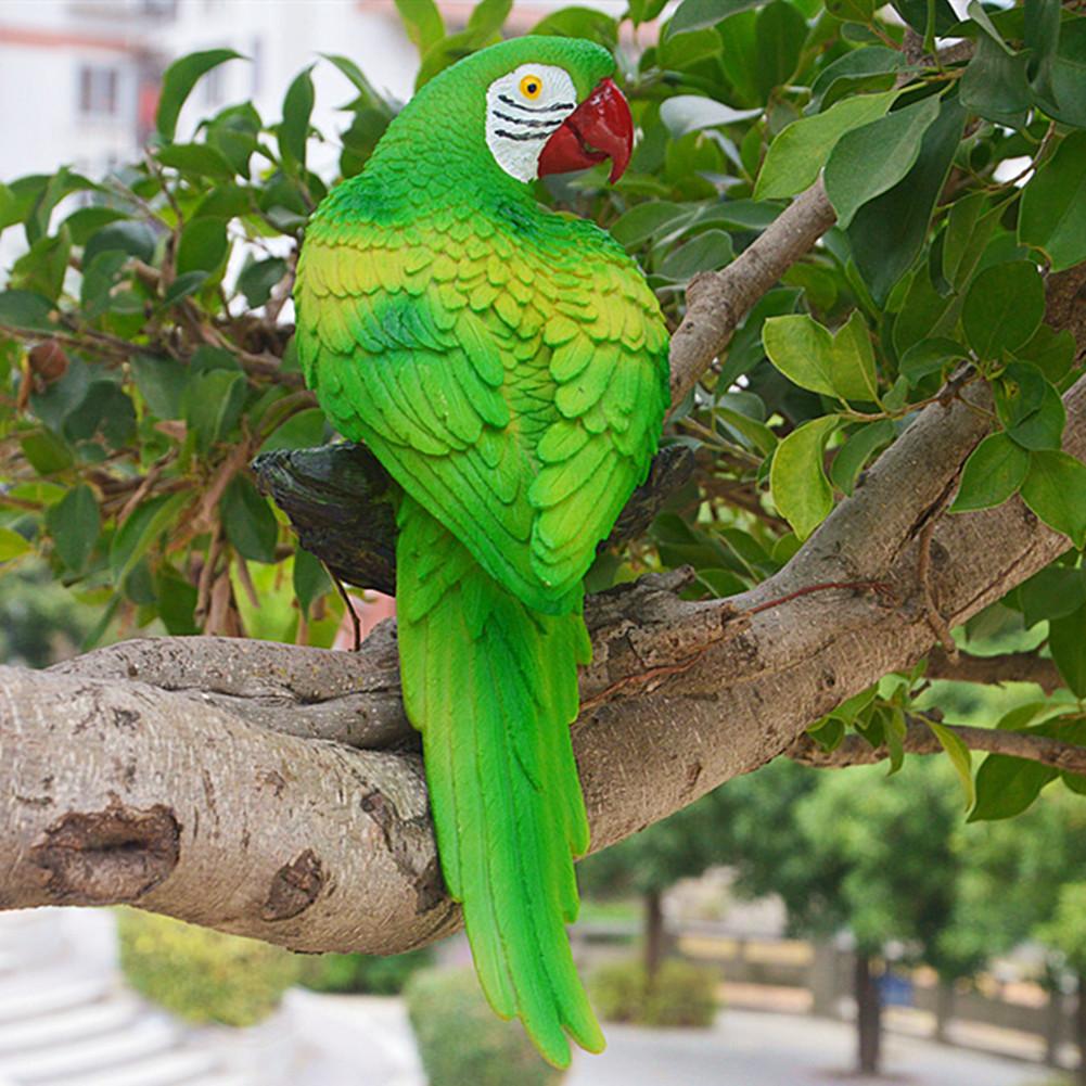 Simulation Parrot Bird Sculpture Wall Hanging Resin Crafts Decor Pendant