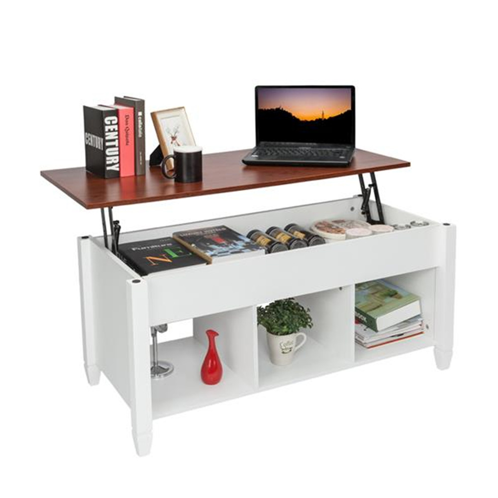 [US Direct] Coffee  Table Lift Top Wood Home Living Room Lift Top Storage Coffee Table Hidden Compartment Lift Tabletop Furniture white