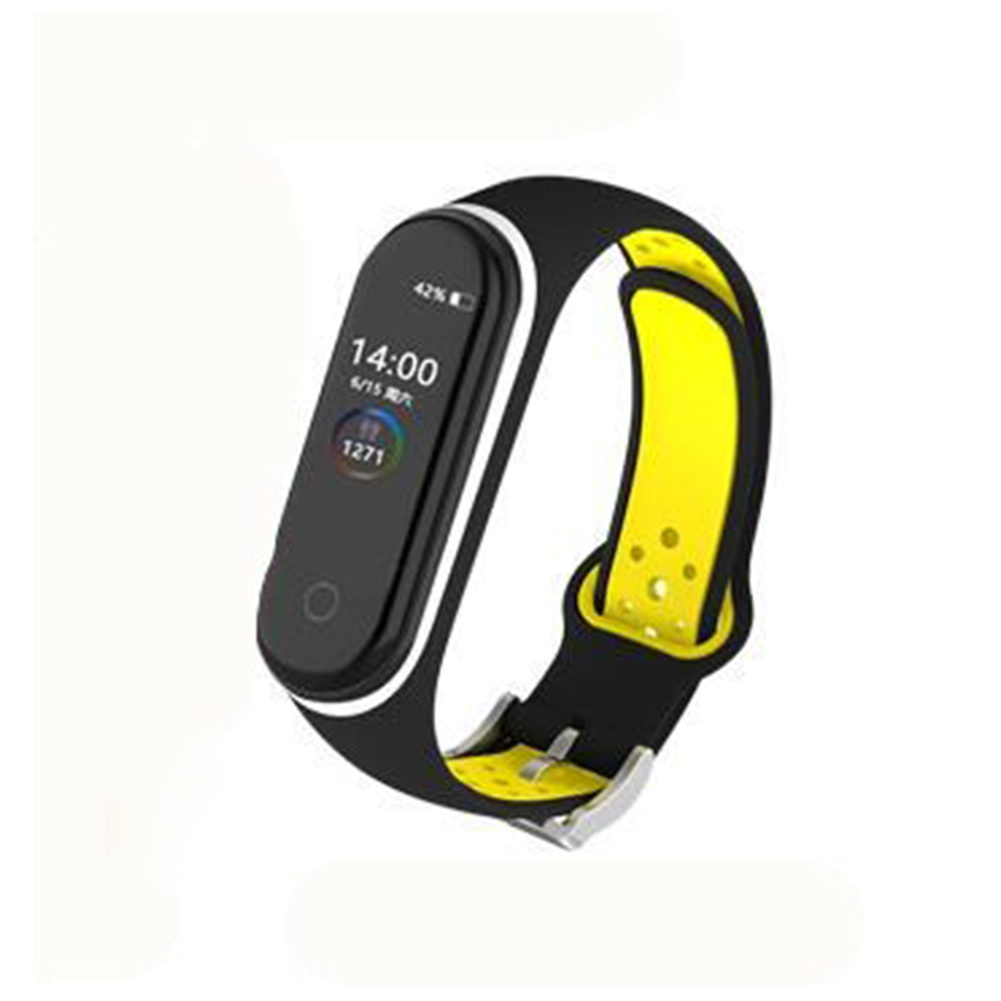 Double Color Round Holes Watch Band with Buckle Wrist Strap Replacement WristBand for XIAOMI MI Band 4 Black yellow