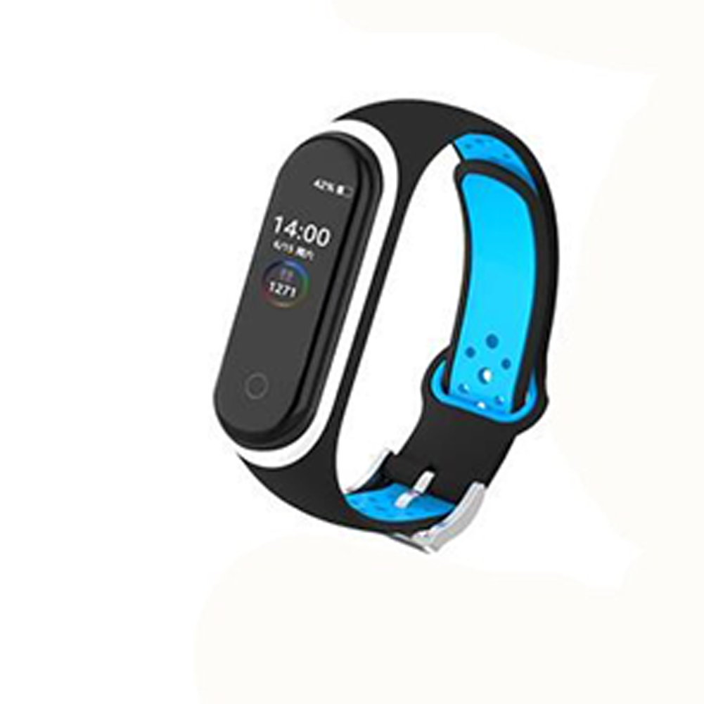 Double Color Round Holes Watch Band with Buckle Wrist Strap Replacement WristBand for XIAOMI MI Band 4 dark blue