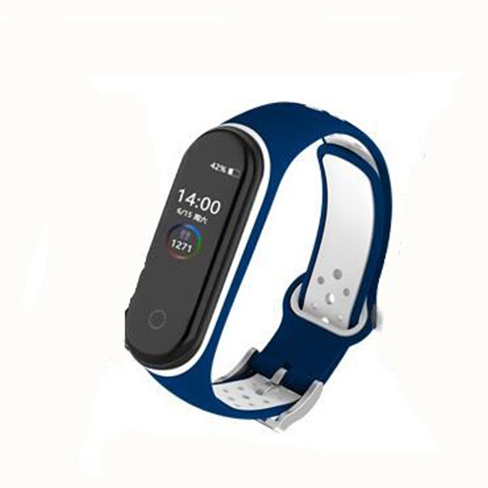 Double Color Round Holes Watch Band with Buckle Wrist Strap Replacement WristBand for XIAOMI MI Band 4 Dark blue white