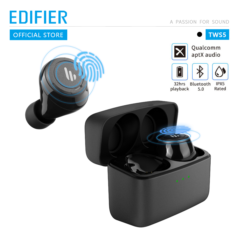 Original EDIFIER TWS5 Bluetooth V5.0 Earbuds AptX Audio Decoding IPX5 Waterproof Touch Control 32Hours Playtime Wireless Earphone black