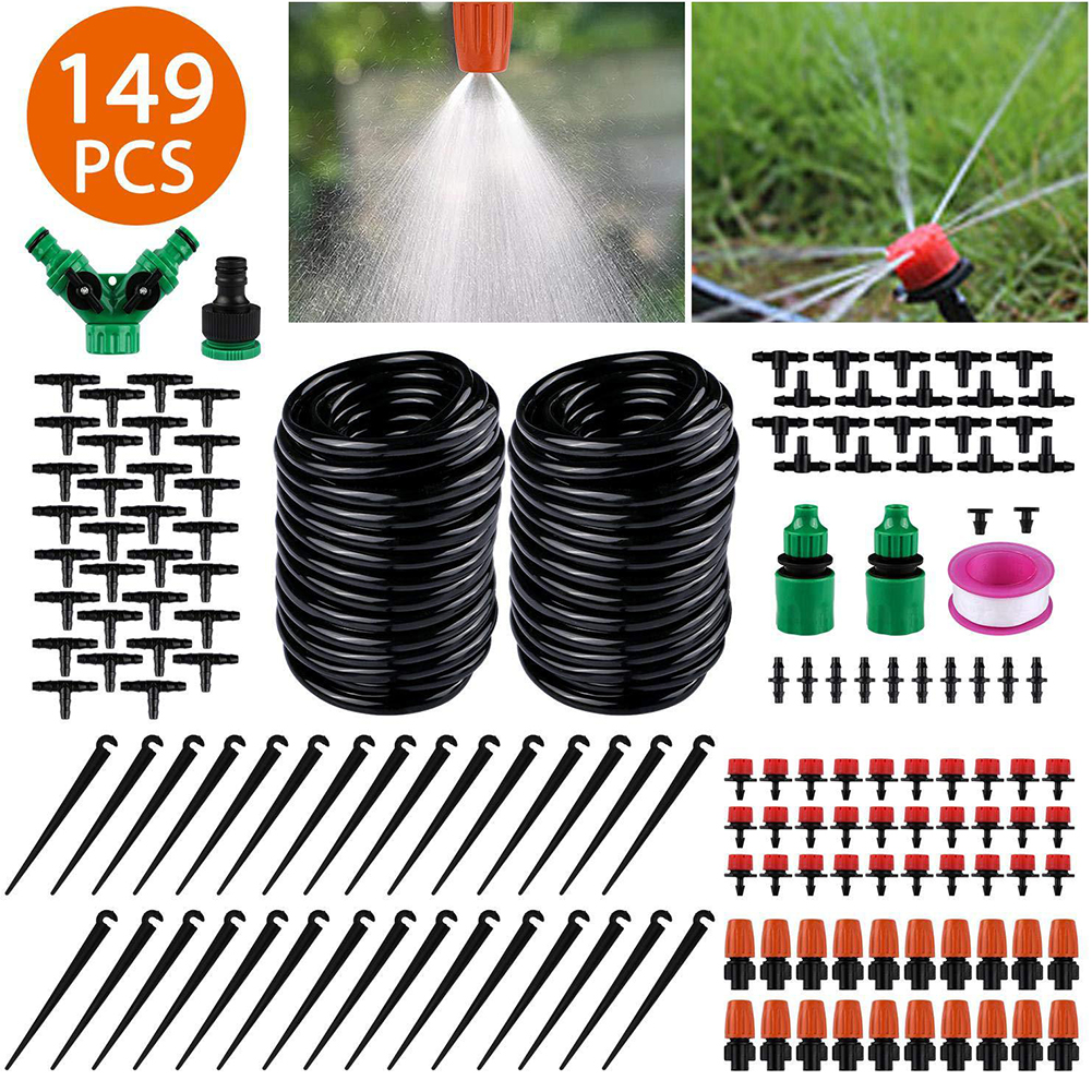 DIY Automatic Flower Watering Machine with 30 m Adjustable Dropper Drip Irrigation Kit 149pcs