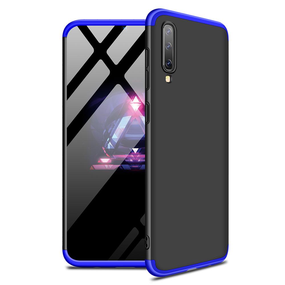 For Samsung A50 Ultra Slim PC Back Cover Non-slip Shockproof 360 Degree Full Protective Case Blue black blue