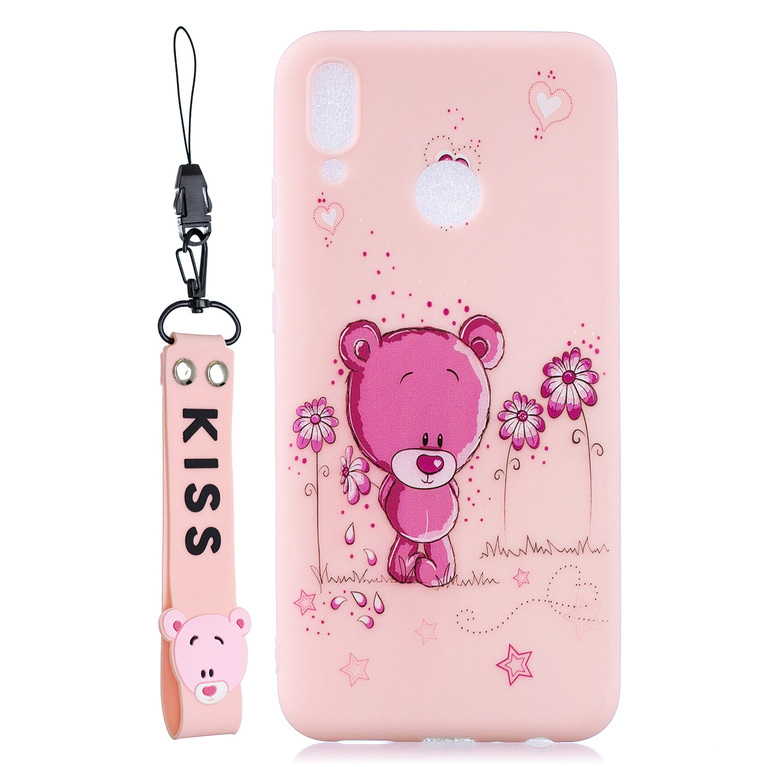 For HUAWEI Y9 2019 Cartoon Lovely Coloured Painted Soft TPU Back Cover Non-slip Shockproof Full Protective Case with Lanyard Light pink