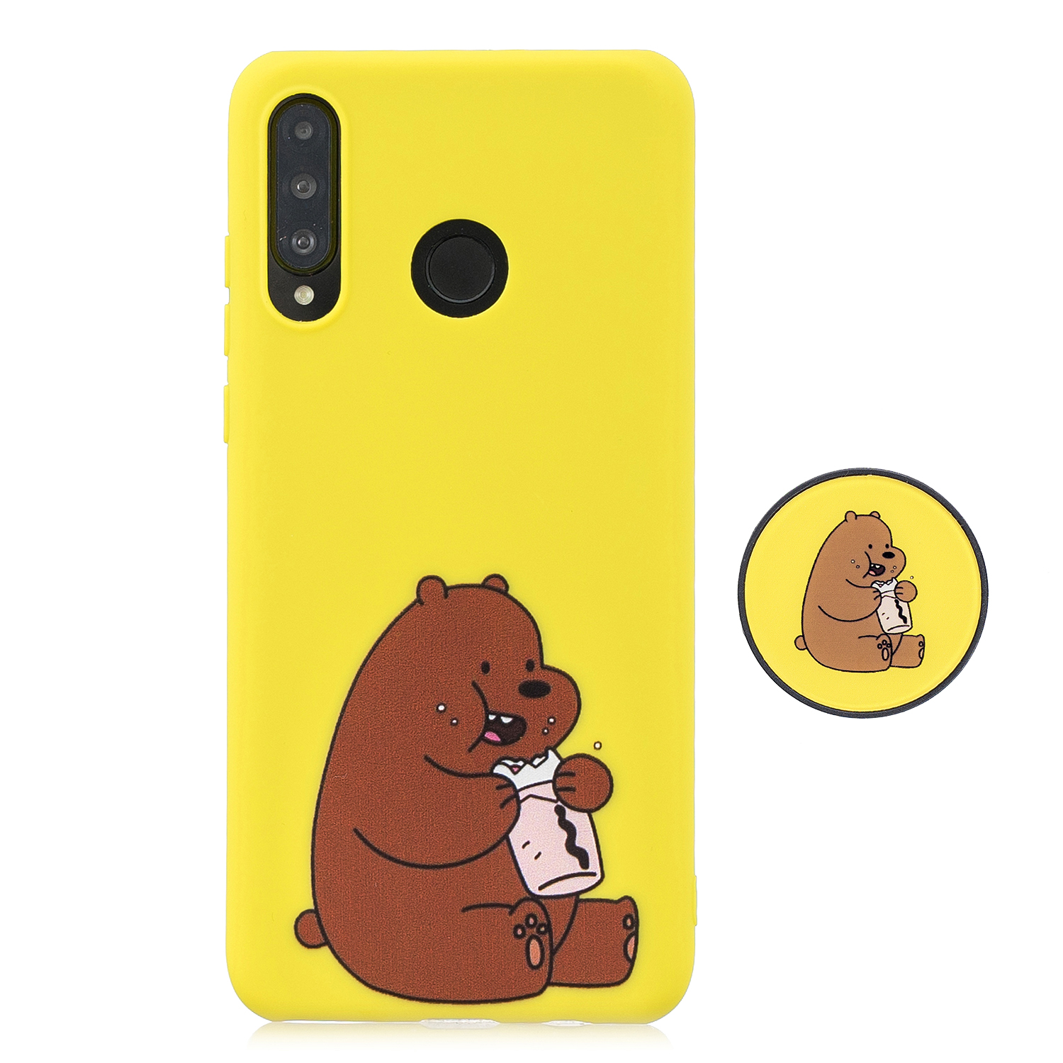 For HUAWEI P30 lite Cute Cartoon Phone Case Ultra Thin Lightweight Soft TPU Phone Case Pure Color Phone Cover with Matching Pattern Adjustable Bracket 8