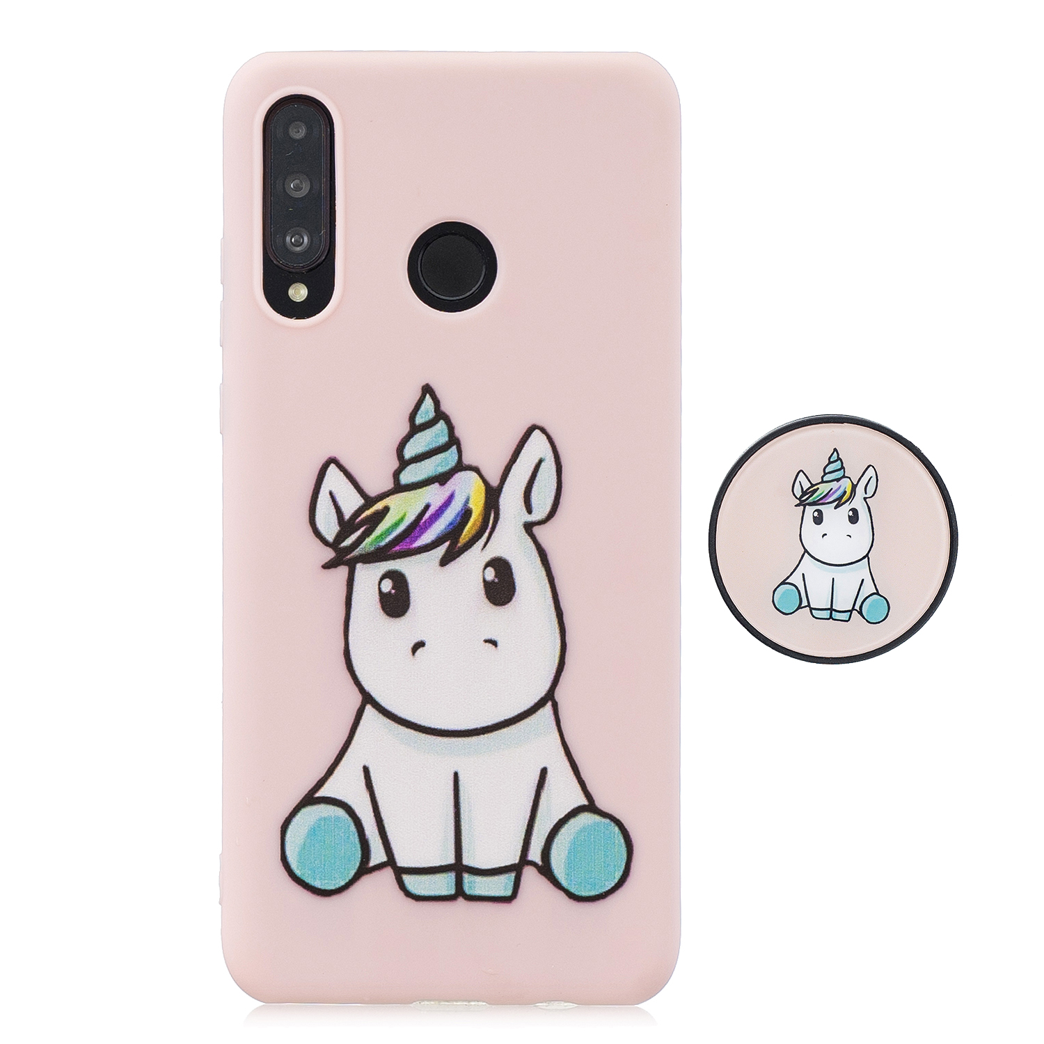 For HUAWEI P30 lite Cute Cartoon Phone Case Ultra Thin Lightweight Soft TPU Phone Case Pure Color Phone Cover with Matching Pattern Adjustable Bracket 6