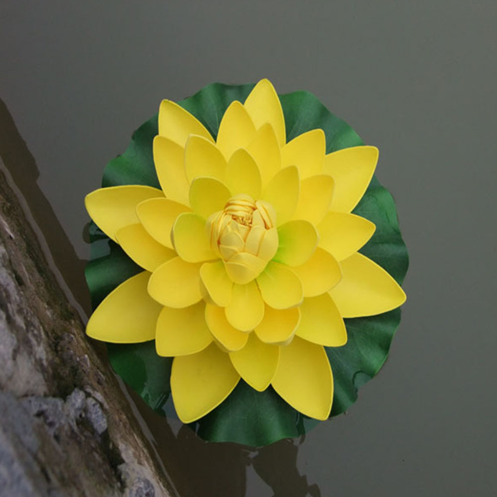 18CM Artificial Floating Lotus Shape Water Surface Decorartion for Pool Pond yellow