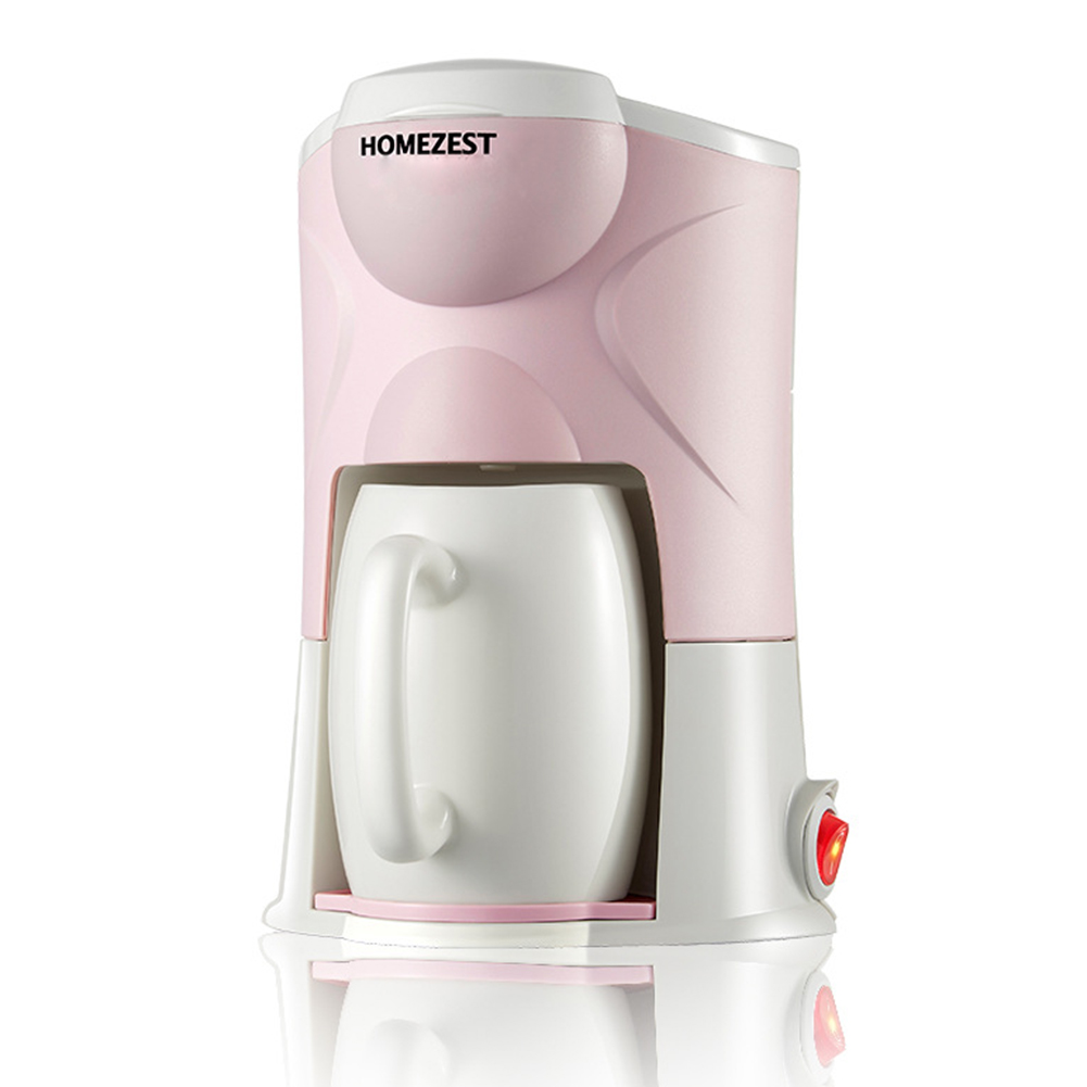 220V Portable Mini Home Automatic Coffee Maker with Ceramic Cup Pink national standard + European standard adapter
