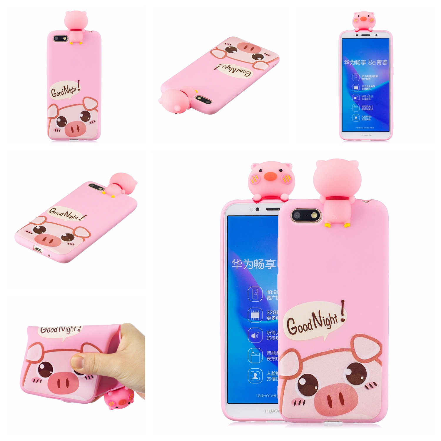 For HUAWEI Y5 2018 3D Cute Coloured Painted Animal TPU Anti-scratch Non-slip Protective Cover Back Case Rose red